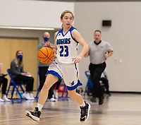 Ava Maner (23) of Rogers brings the ball up the court at King Arena, Rogers, AR January 8, 2021 / Special to NWA Democrat-Gazette/ David Beach