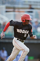 Chattanooga Lookouts shortstop Nick Gordon (5) runs to first base during a game against the Jackson Generals on April 29, 2017 at The Ballpark at Jackson in Jackson, Tennessee.  Jackson defeated Chattanooga 7-4.  (Mike Janes/Four Seam Images)