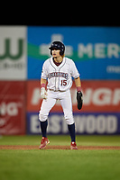 Mahoning Valley Scrappers Raynel Delgado (15) leads off second base during a NY-Penn League game against the Hudson Valley Renegades on July 15, 2019 at Eastwood Field in Niles, Ohio.  Mahoning Valley defeated Hudson Valley 6-5.  (Mike Janes/Four Seam Images)