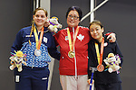Toronto, ON - Aug 10 2015 -  Stephanie Chan receives her Gold Medal in  Women's Singles Class 6-7 Group A in the ATOS Markham Parapan Centre during the Toronto 2015 Parapan American Games  (Photo: Matthew Murnaghan/Canadian Paralympic Committee)