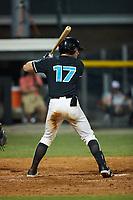 Kellen Sarver (17) (Illinois) of the Danville Otterbots at bat against the Burlington Sock Puppets at Burlington Athletic Park on June 5, 2021 in Burlington, North Carolina. (Brian Westerholt/Four Seam Images)