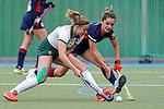v.li.: Ida-Marie Köllinger (Mülheim, 12), Fiona Felber (MHC, 6), Zweikampf, Spielszene, Duell, duel, tackle, tackling, Dynamik, Action, Aktion, 01.05.2021, Mannheim  (Deutschland), Hockey, Deutsche Meisterschaft, Viertelfinale, Damen, Mannheimer HC - HTC Uhlenhorst Mülheim <br /> <br /> Foto © PIX-Sportfotos *** Foto ist honorarpflichtig! *** Auf Anfrage in hoeherer Qualitaet/Aufloesung. Belegexemplar erbeten. Veroeffentlichung ausschliesslich fuer journalistisch-publizistische Zwecke. For editorial use only.