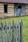 Buffalo National River, Arkansas:<br /> Collier homestead fence and lob cabin detail, near Tyler Bend