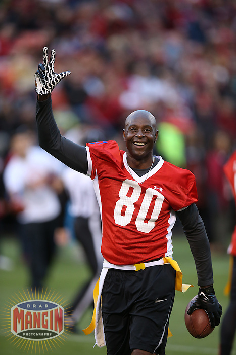SAN FRANCISCO, CA - JULY 12:  Former San Francisco 49ers great Jerry Rice celebrates after a first half touchdown during the Legends of Candlestick flag football game at Candlestick Park in San Francisco, California on July 12, 2014. Photo by Brad Mangin