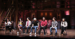 """Gabby Sorrentino, Johanna Moise, Marc delaCruz, Terrance Spencer, Deon'te Goodman, Thayne Jasperson and Lauren Boyd during the Q & A before The Rockefeller Foundation and The Gilder Lehrman Institute of American History sponsored High School student #EduHam matinee performance of """"Hamilton"""" at the Richard Rodgers Theatre on 5/22/2019 in New York City."""
