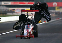 Sep 4, 2020; Clermont, Indiana, United States; NHRA top alcohol dragster driver Duane Shields during qualifying for the US Nationals at Lucas Oil Raceway. Mandatory Credit: Mark J. Rebilas-USA TODAY Sports
