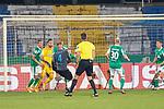 12.09.2020, Ernst-Abbe-Sportfeld, Jena, GER, DFB-Pokal, 1. Runde, FC Carl Zeiss Jena vs SV Werder Bremen<br /> <br /> <br /> Gerangel vor dem Bremen tor Jiri Pavlenka (Werder Bremen #01)<br /> Davy Klaassen (Werder Bremen #30)<br /> Dennis Slamar (Carl Zeiss Jena #04)<br /> Ludwig Augustinsson (Werder Bremen #05)<br /> Niklas Moisander (Werder Bremen #18 Kapitaen)<br /> <br />  <br /> <br /> <br /> Foto © nordphoto / Kokenge