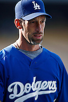 Luis Gonzalez of the Los Angeles Dodgers during batting practice before a 2007 MLB season game at Dodger Stadium in Los Angeles, California. (Larry Goren/Four Seam Images)