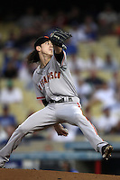 Tim Lincecum #55 of the San Francisco Giants pitches against the Los Angeles Dodgers at Dodger Stadium on August 21, 2012 in Los Angeles, California. San Francisco defeated Los Angeles 4-1. (Larry Goren/Four Seam Images)