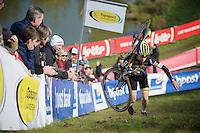 neo-U23 rider Eli Iserbyt (BEL/Telenet-Fidea) leading the race from start to finish<br /> <br /> U23 race<br /> bpost bank trofee<br /> GP Mario De Clercq Ronse 2015