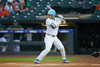 Brandon Riley (1) of the North Carolina Tar Heels at bat against the Miami Hurricanes in the second semifinal of the 2017 ACC Baseball Championship at Louisville Slugger Field on May 27, 2017 in Louisville, Kentucky. The Tar Heels defeated the Hurricanes 12-4. (Brian Westerholt/Four Seam Images)