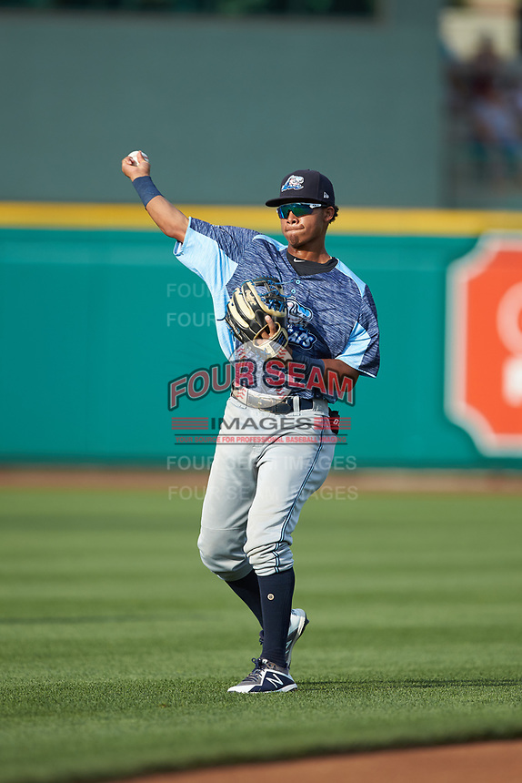 West Michigan Whitecaps shortstop Wenceel Perez (27) warms up in the outfield prior to the game against the Fort Wayne TinCaps at Parkview Field on August 5, 2019 in Fort Wayne, Indiana. The TinCaps defeated the Whitecaps 9-3. (Brian Westerholt/Four Seam Images)