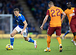St Johnstone v Galatasaray…12.08.21  McDiarmid Park Europa League Qualifier<br />Callum Hendry takes on Berkan Kutlu<br />Picture by Graeme Hart.<br />Copyright Perthshire Picture Agency<br />Tel: 01738 623350  Mobile: 07990 594431