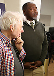 "Austin Pendleton and Chuck Cooper during the MTC Broadway Cast Call for ""Choir Boy"" at The MTC Rehearsal Studios on November 20, 2018 in New York City."