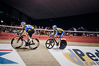 Mark Cavendish(GBR) & Iljo Keisse (BEL) going for the fastest lap<br /> <br /> zesdaagse Gent 2019 - 2019 Ghent 6 (BEL)<br /> day 2<br /> <br /> ©kramon