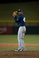 AZL Brewers relief pitcher Johan Dominguez (47) prepares to deliver a pitch during an Arizona League game against the AZL Cubs 1 at Sloan Park on June 29, 2018 in Mesa, Arizona. The AZL Cubs 1 defeated the AZL Brewers 7-1. (Zachary Lucy/Four Seam Images)