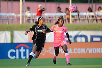 Eniola Aluko (18) of Sky Blue FC and Candace Chapman (5) of the Western New York Flash. The Western New York Flash defeated Sky Blue FC 2-0 during a Women's Professional Soccer (WPS) match at Yurcak Field in Piscataway, NJ, on July 17, 2011.