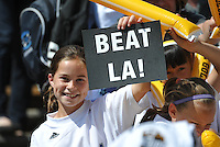 FC Gold Pride fan holding Beat LA sign. The Los Angeles Sol defeated FC Gold Pride, 2-0, at Buck Shaw Stadium in Santa Clara, CA on May 24, 2009.