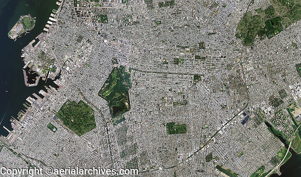 aerial photo map of Brooklyn, Kings County, New York City