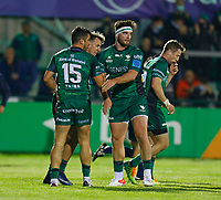 1st October 2021;  The Sportsground, Galway, Ireland; United Rugby Championships, Connacht versus Bulls; Tom Daly celebrates with Connacht try scorer Tiernan O'Halloran