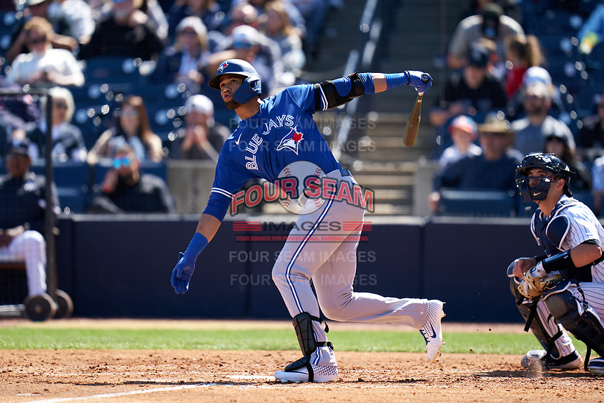 Toronto Blue Jays Lourdes Gurriel Jr. (13) bats during a Spring Training game against the New York Yankees on February 22, 2020 at the George M. Steinbrenner Field in Tampa, Florida.  (Mike Janes/Four Seam Images)