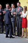 Formula One driver Fernando Alonso shakes hands with Spain's crown Prince Felipe and Princess Letizia during a ceremony to designate Spain Brand ambassadors. February 12, 2013. (ALTERPHOTOS/Alvaro Hernandez)