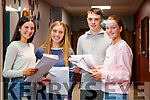 Emily Pierse, Athea, Kate Murphy, Fossa, Rian O'Sullivan, Camp and Tara Collins, Tralee students at Brookfield College, Tralee, who received their Leaving Certificate results on Tuesday morning last.