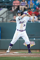 Gavin Sheets (24) of the Winston-Salem Dash at bat against the Lynchburg Hillcats at BB&T Ballpark on May 3, 2018 in Winston-Salem, North Carolina. The Dash defeated the Hillcats 5-3. (Brian Westerholt/Four Seam Images)