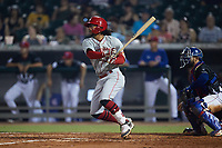 Quincy McAfee (34) of the Chattanooga Lookouts follows through on his swing against the Tennessee Smokies at Smokies Stadium on July 31, 2021, in Kodak, Tennessee. (Brian Westerholt/Four Seam Images)