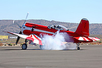 Bob Odegard turns over the R4360 powerplant on the Goodyear built F2G-1 Super Corsair prior to a heat race during the 2008 Reno National Championship Air Races at Stead Field in Nevada. BuNo 88458 was restored and is now owned by Bob Odegaard. The aircraft was previously owned by Cook Cleland and raced in the Tinnerman and Thompson Trophy Races in the 1940's following World War II.
