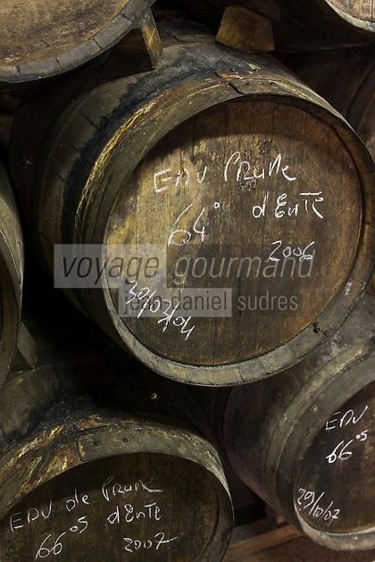 Europe/France/Aquitaine/24/Dordogne/Vallée de la Dordogne/Périgord/Périgord Noir/Sarlat-la-Canéda: Tonneaux d'eau de vie de prune à la distillerie de la Salamandre