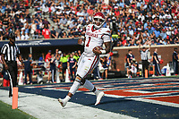 Arkansas quarterback KJ Jefferson (1) carries the ball for a score, Saturday, October 9, 2021 during the first quarter of a football game at Vaught Hemingway Stadium in Oxford, Miss. Check out nwaonline.com/211010Daily/ for today's photo gallery. <br /> (NWA Democrat-Gazette/Charlie Kaijo)