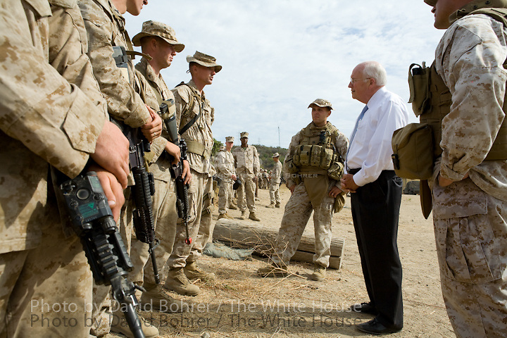 VP Cheney: visit to Marine Corps Air Station Camp Pendleton and tour of Infantry Immersion Center and Outdoor Training Area.
