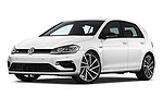 Stock pictures of low aggressive front three quarter view of 2019 Volkswagen Golf R 5 Door Hatchback Low Aggressive