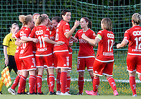 20160520 - TUBIZE , BELGIUM : Standard pictured celebrating their goal and the 0-1 lead for Standard during a soccer match between the women teams of RSC Anderlecht and Standard Femina de Liege , during the sixth and last matchday in the SUPERLEAGUE Playoff 1 , Friday 20 May 2016 . PHOTO SPORTPIX.BE / DAVID CATRY