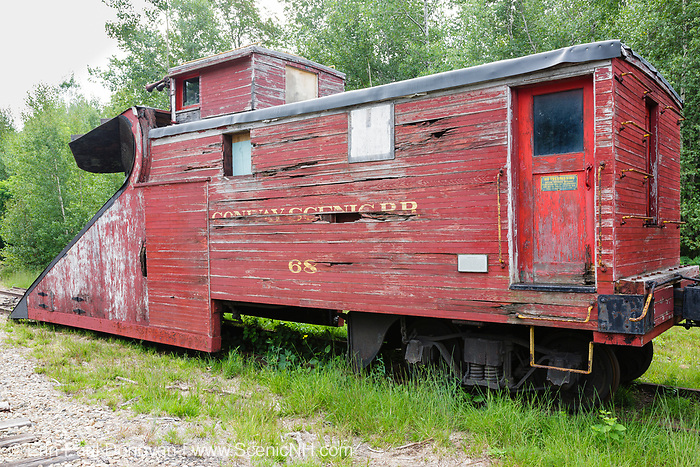 The Russell snow plow #68 at Bartlett Roundhouse in Bartlett, New Hampshire USA along the old Maine Central Railroad. This plow was built in 1923 for the Portland Terminal Railroad Company, a subsidiary of the Maine Central Railroad and operated mostly in Maine. In 1975 the Conway Scenic Railroad purchased it.