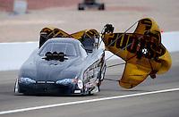 Apr. 3, 2009; Las Vegas, NV, USA: NHRA funny car driver Brian Thiel during qualifying for the Summitracing.com Nationals at The Strip in Las Vegas. Mandatory Credit: Mark J. Rebilas-