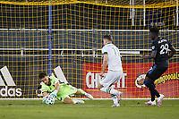 SAN JOSE, CA - SEPTEMBER 16: San Jose Earthquakes goalkeeper JT Marcinkowski #18 dives on a shot during a game between Portland Timbers and San Jose Earthquakes at Earthquakes Stadium on September 16, 2020 in San Jose, California.