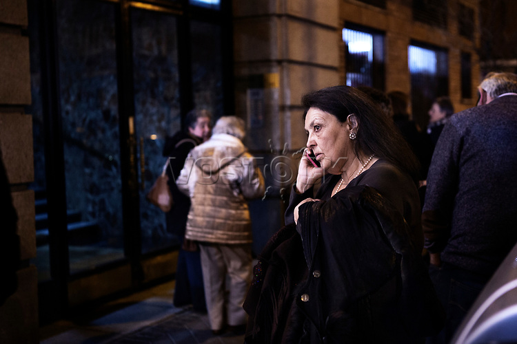 Madrid, Spain, February 12, 2015. A member of the left wing [party] Podemos makes a phone call after their weekly meeting in Salamanca's neighbourhood in Madrid.