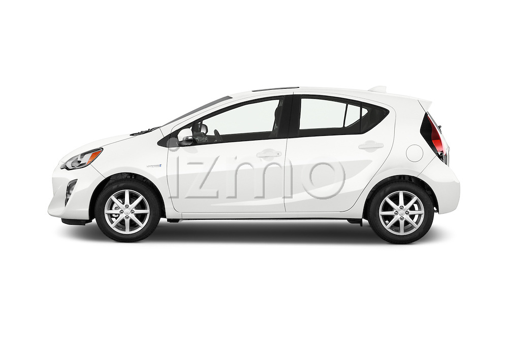 Car Driver side profile view of a 2015 Toyota Prius c Three 5 Door Hatchback Side View