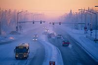 Peger road in downtown Fairbanks, icefog, Fairbanks, Alaska