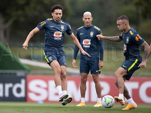 12th November 2020; Granja Comary, Teresopolis, Rio de Janeiro, Brazil; Qatar 2022 World Cup qualifiers; Marquinhos and Everton of Brazil during training session