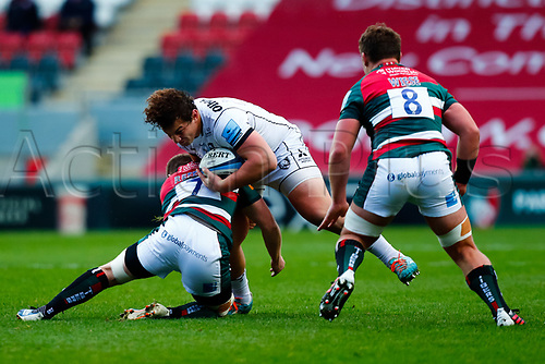 21st November 2020; Welford Road Stadium, Leicester, Midlands, England; Premiership Rugby, Leicester Tigers versus Gloucester Rugby; Val Rapava-Ruskin of Gloucester Rugby takes the ball into contact