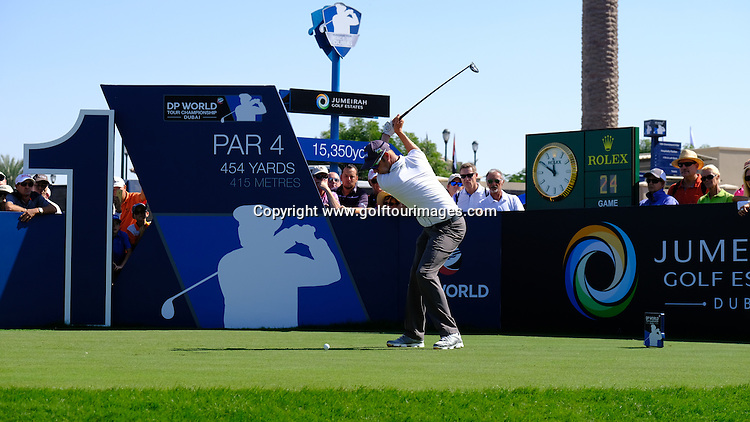 Mikko ILONEN (FIN) during round two of the 2016 DP World Tour Championships played over the Earth Course at Jumeirah Golf Estates, Dubai, UAE: Picture Stuart Adams, www.golftourimages.com: 11/18/16