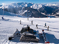 """Switzerland. Canton Valais. Ski in Verbier at  """" Les Ruinettes"""" ( 2200 meters ). Snow blower and crawler ratrack. Verbier is a village located in the municipality of Bagnes. The village lies on a south orientated terrace at around 1,500 metres facing the Grand Combin massif. The terrace lies on the east side of the Val de Bagnes. Verbier is one of the largest holiday resort and ski areas in the Swiss Alps. 3.01.2012 © 2012 Didier Ruef *** Local Caption *** ."""