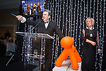 © Joel Goodman - 07973 332324 . 05/03/2015 .  Midland Hotel , Manchester , UK . Eamonn O'Neill introduces prizes in a tombola in aid of Childline . The Manchester Legal Awards 2015 . Photo credit : Joel Goodman