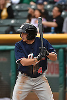 Tony Campana (4) of the Reno Aces at bat against the Salt Lake Bees at Smith's Ballpark on May 5, 2014 in Salt Lake City, Utah.  (Stephen Smith/Four Seam Images)