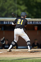 Grayson Chapman (21) (Wingate University) of the Statesville Owls at bat against the High Point-Thomasville HiToms at Finch Field on July 19, 2020 in Thomasville, NC. The HiToms defeated the Owls 21-0. (Brian Westerholt/Four Seam Images)