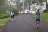 Early morning recreation at the edge of lake Chautauqua on the grounds of Chuatauqua Institution. June 27, 2014 Photo by Brendan Bannon