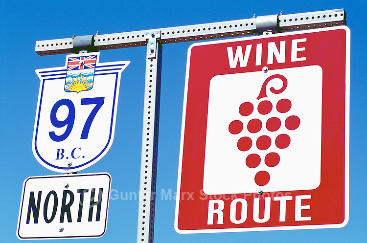 Highway Road Signs along Wine Route Highway 97, Okanagan Valley, BC, British Columbia, Canada